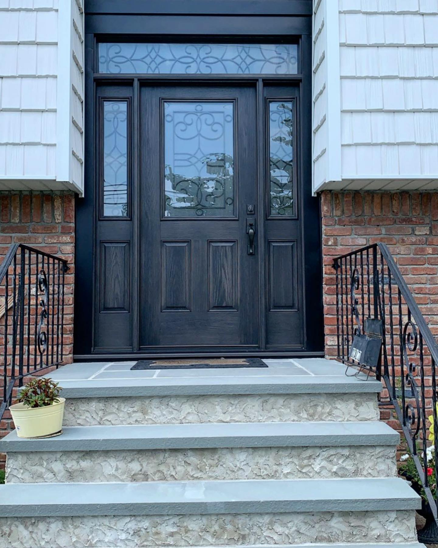 Therma-Tru door with transom and sidelights